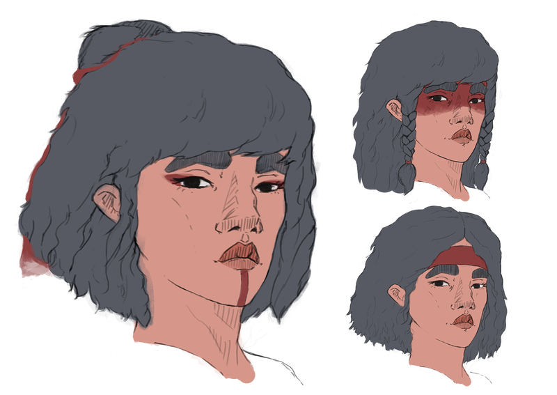 American drawing face. Designs for native by