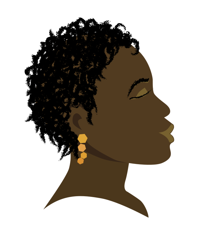 American drawing profile. Free clipart african girl