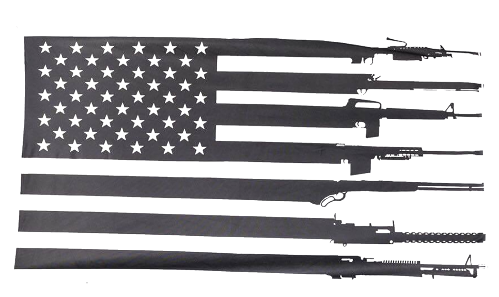 American flag black and white png. With rifle stripes your