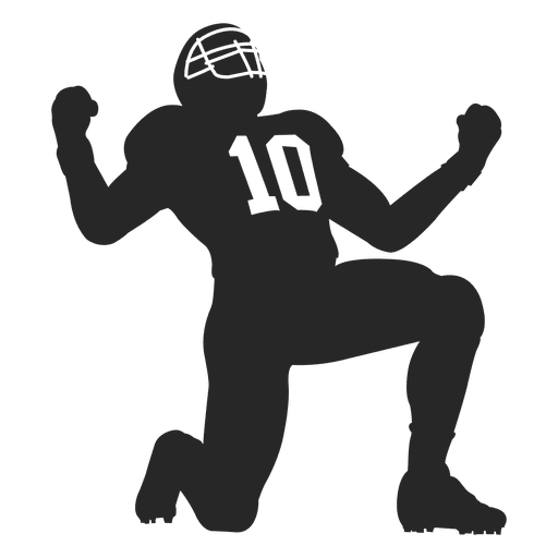 American football vector png. Rugby player celebrating silhouette