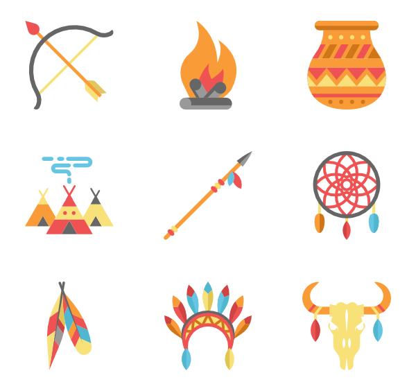 Vector set native american. Icons free color indigenous