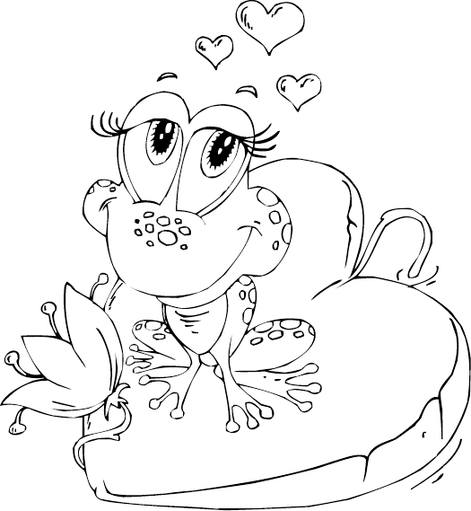 Amphibian drawing coloring page. Frog on heart lily