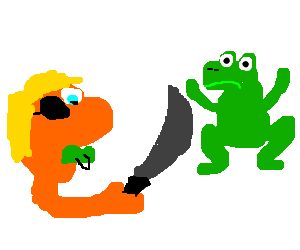 Amphibian drawing fire. Baby pirate asks kermit