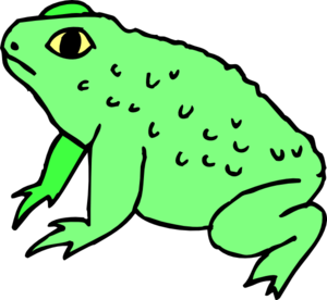 Amphibian drawing side view. Toad clip black