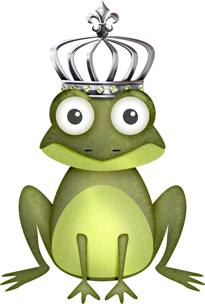 Frogs drawing crown. Mbatton bayouprincess frog male