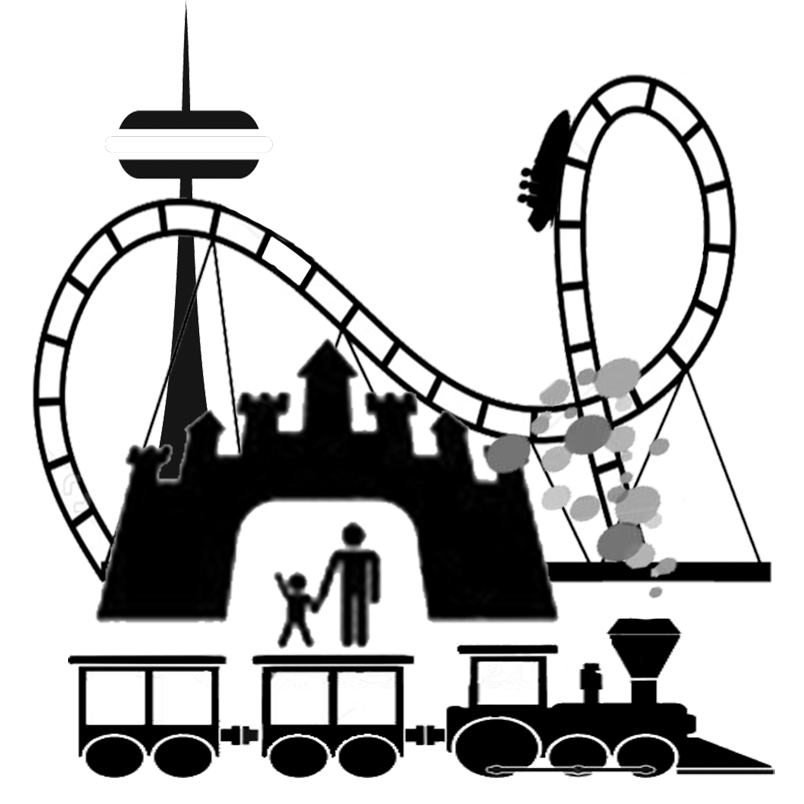 Amusement clipart black and white. Theme park silhouette at