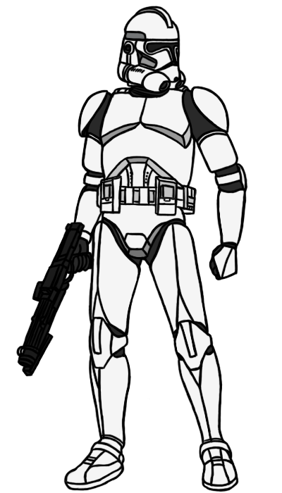 Pilot drawing clone trooper. Phase ii base by