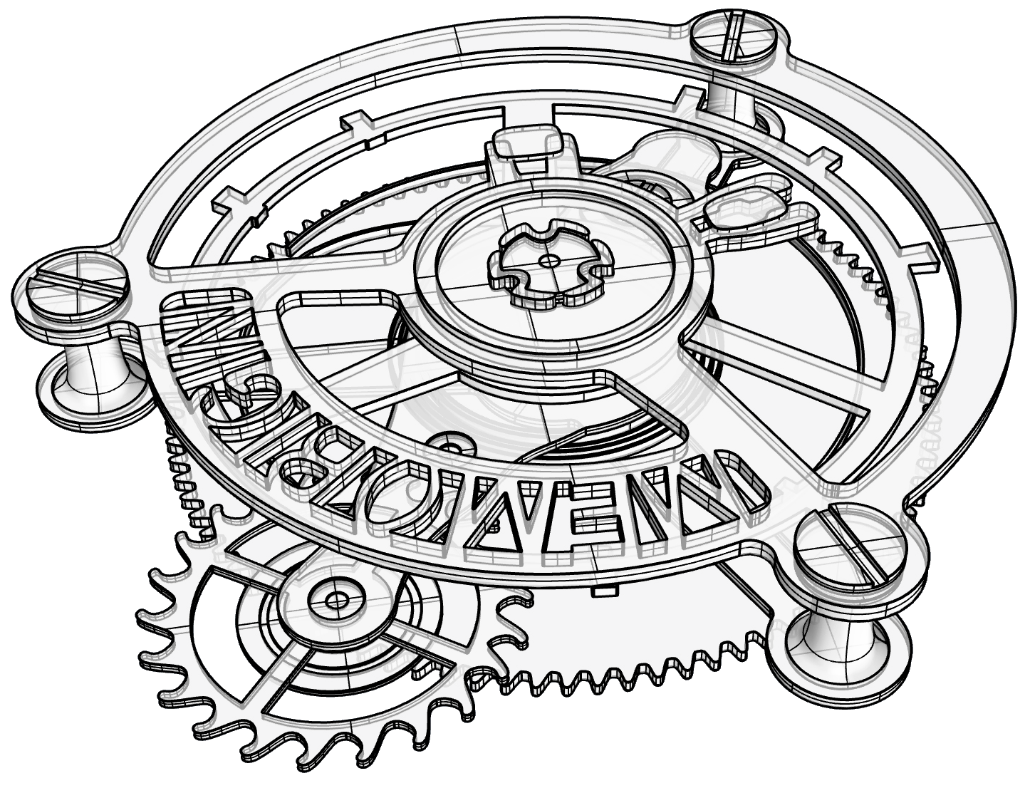Intricate drawing clock. Pct patent sample margins