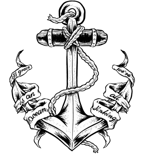 Black ink anchor with. Chest tatto png vector transparent library