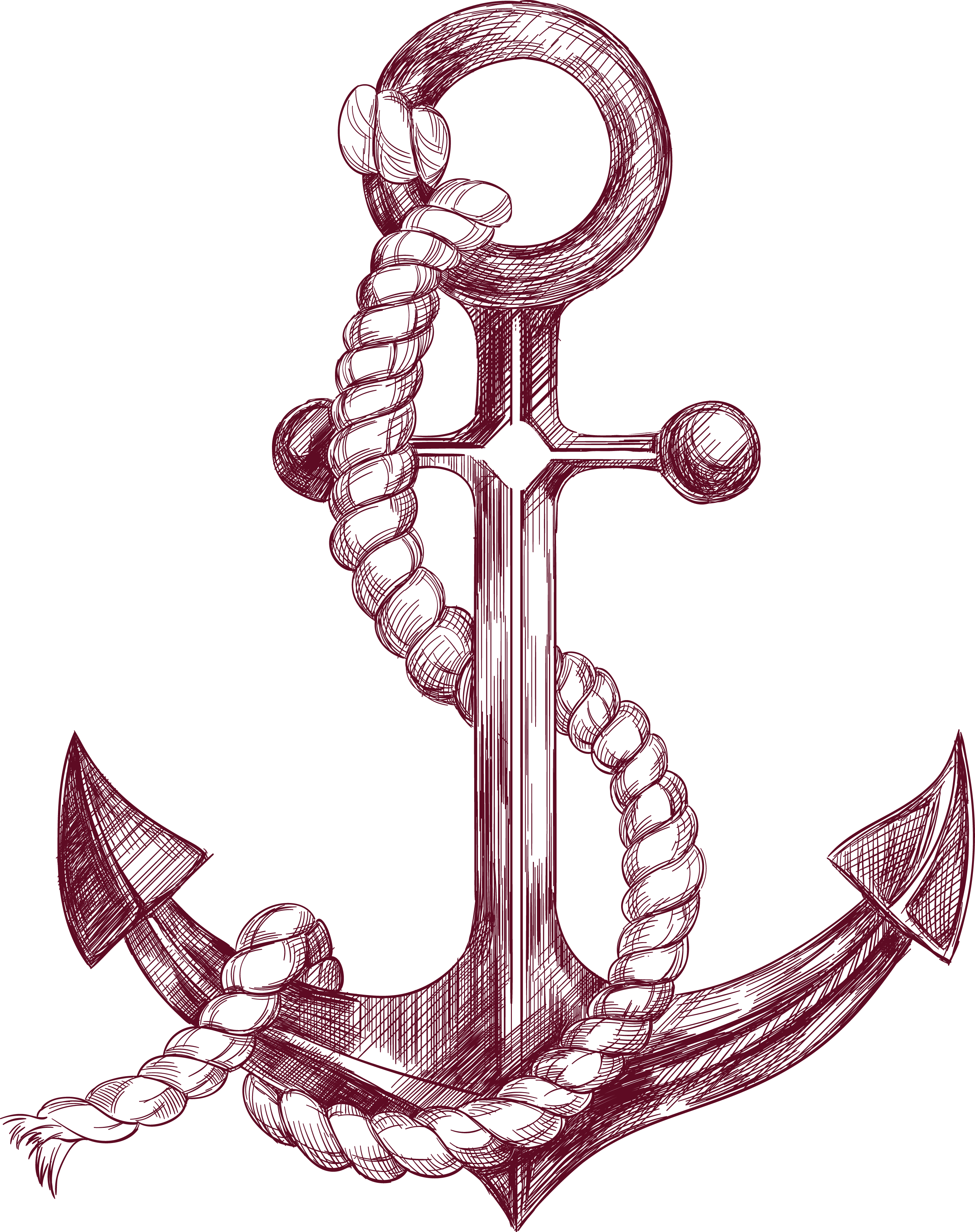 Anchor with banner png. Drawing illustration sketch transprent
