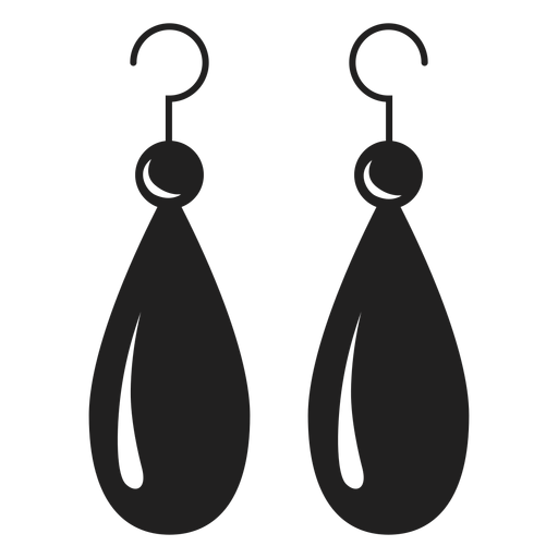 Dangle earrings black icon. Earring vector transparent clip transparent stock