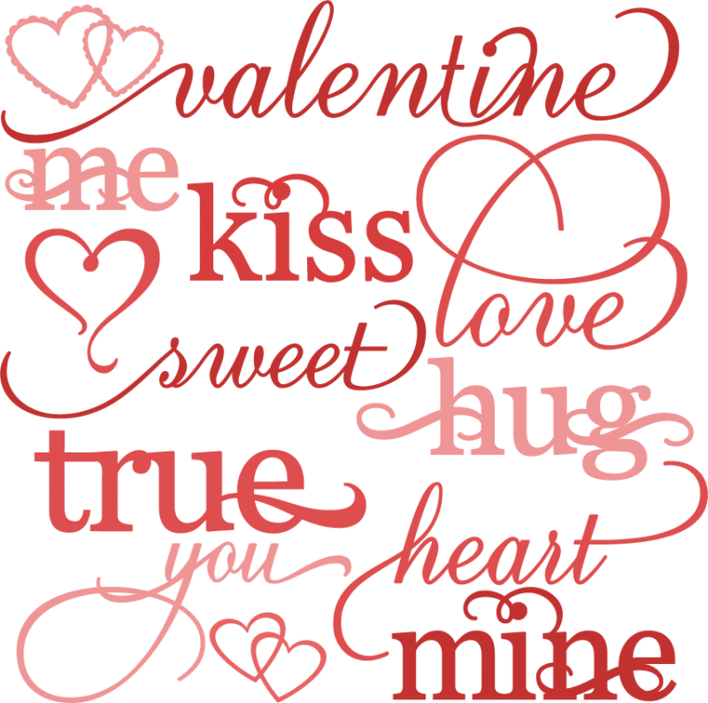 Valentine word set cutting. And svg valentines vector black and white