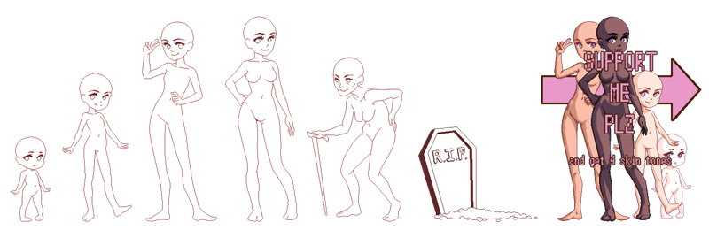 Androgynous drawing body. Tutorial child and growing