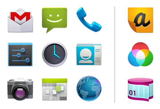 Android app icons png. Launcher developers example for