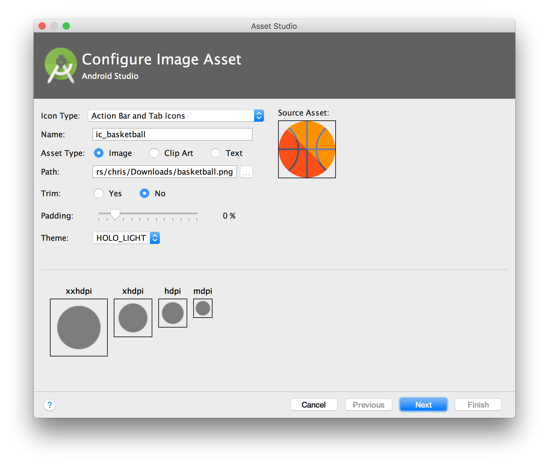 Android studio import png. Java image assets not