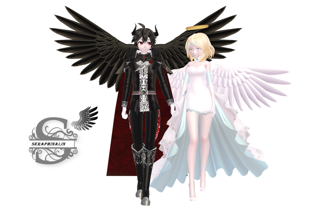 Angel and demon png. Tda rin x len