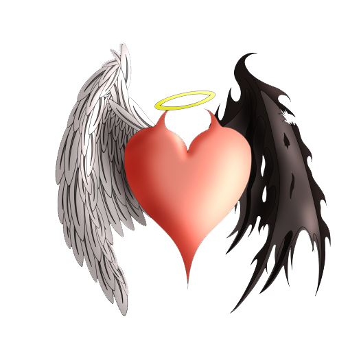 Angel and demon png. Devil heart tattoo angels