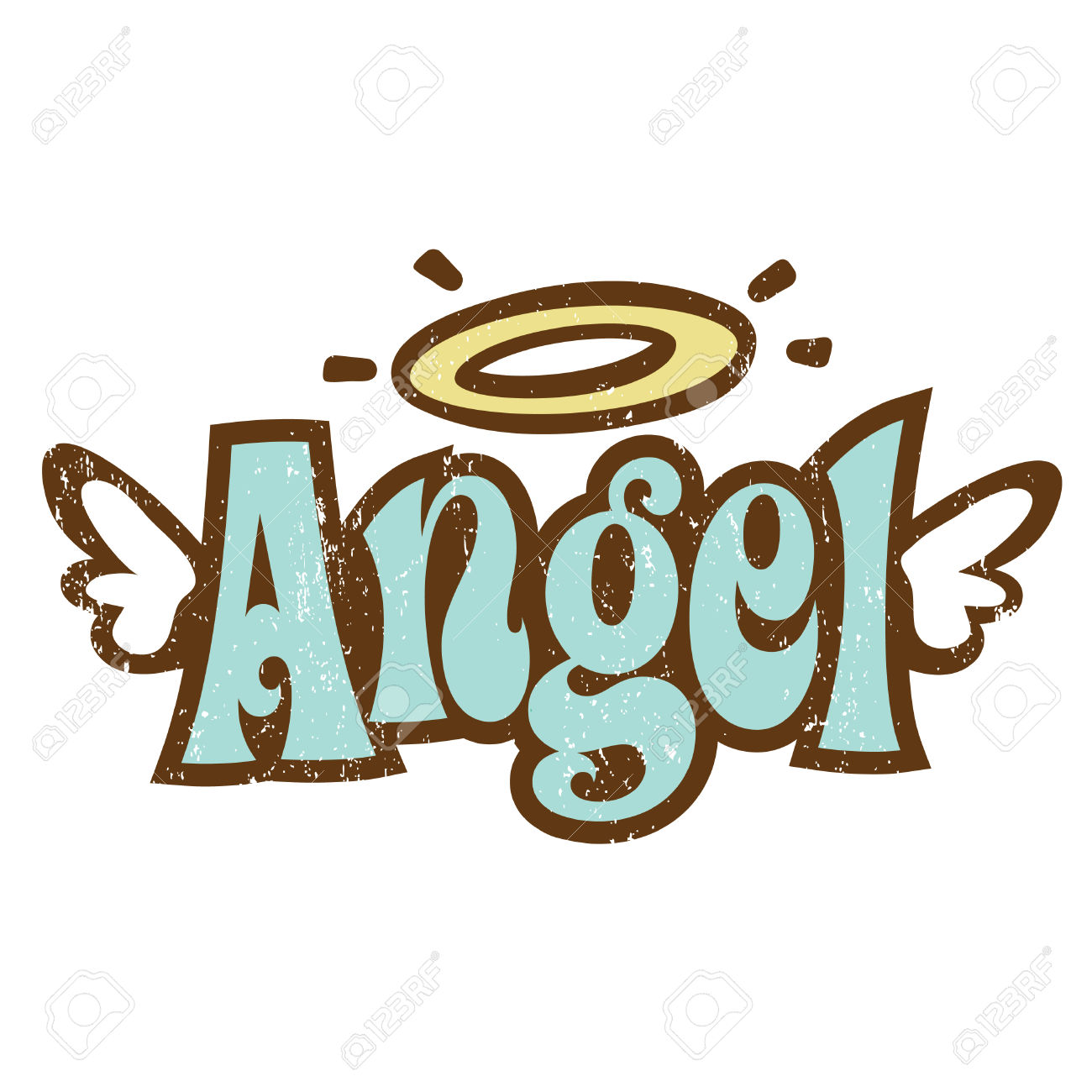Angel clipart word. Pencil and in color