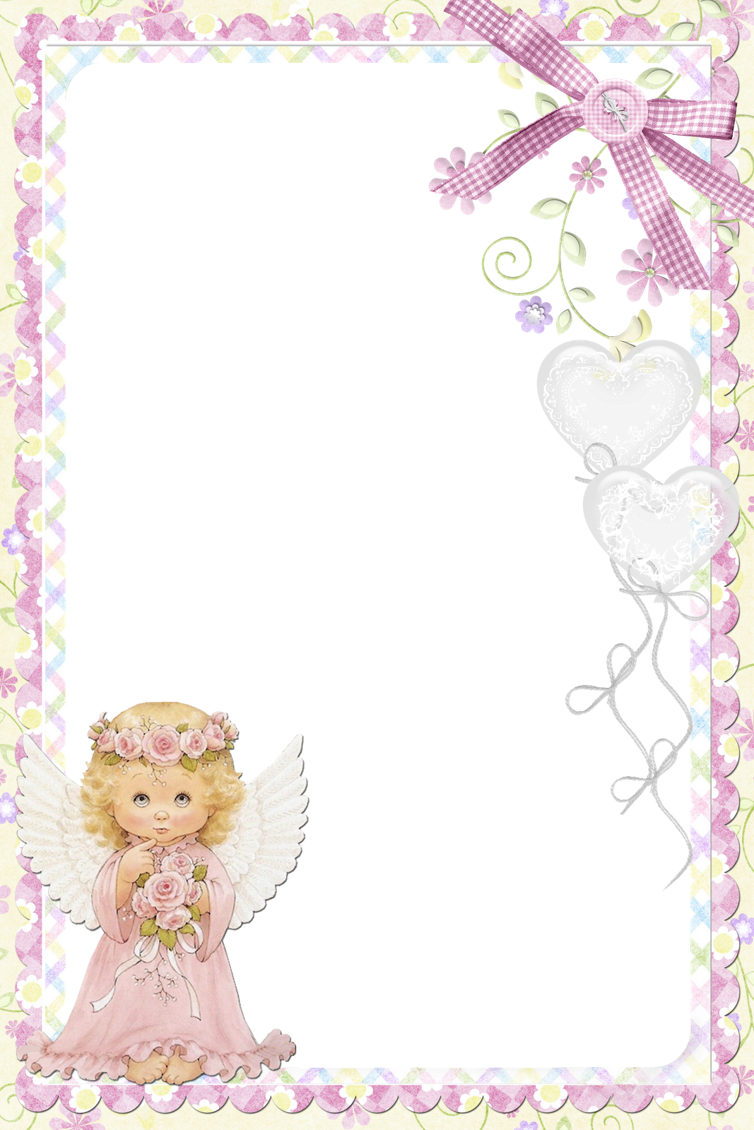 Angel frame png. Cute soft pink with