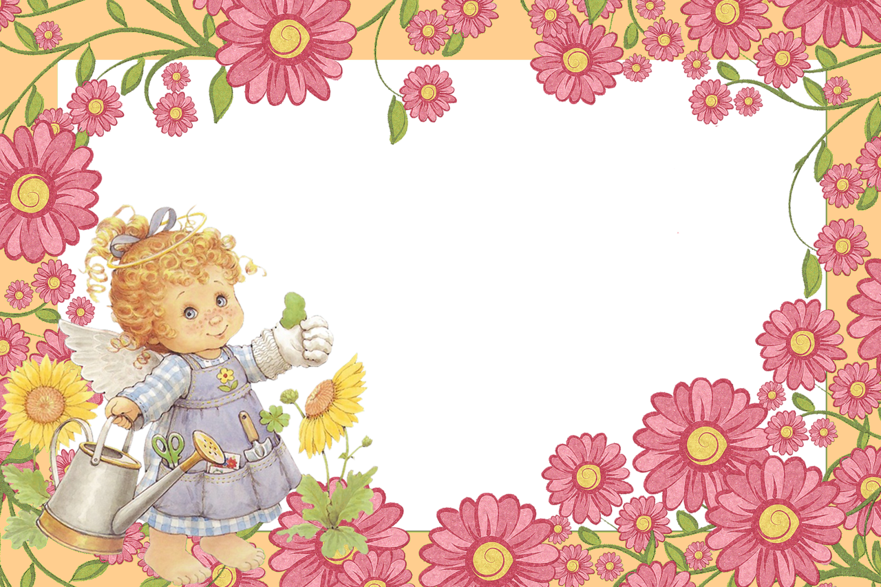 Valentines flower angels frame png. Cute little angel with