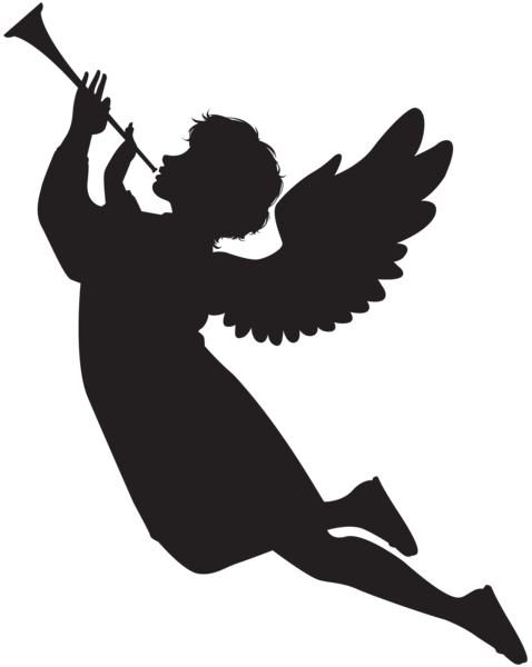 Angel horn png. With trumpet silhouette at