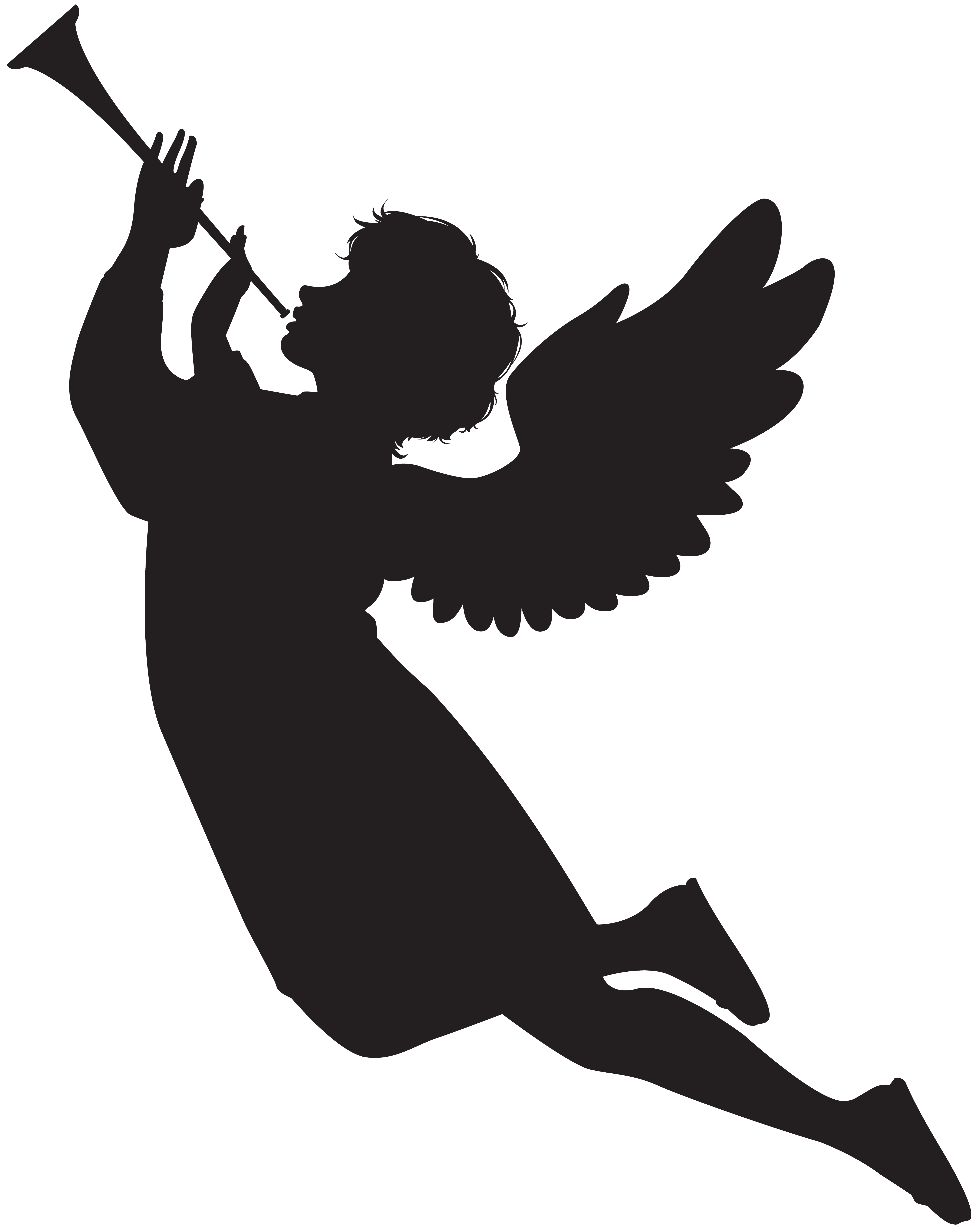 Angel with fanfare clip. Astronaut silhouette png png black and white