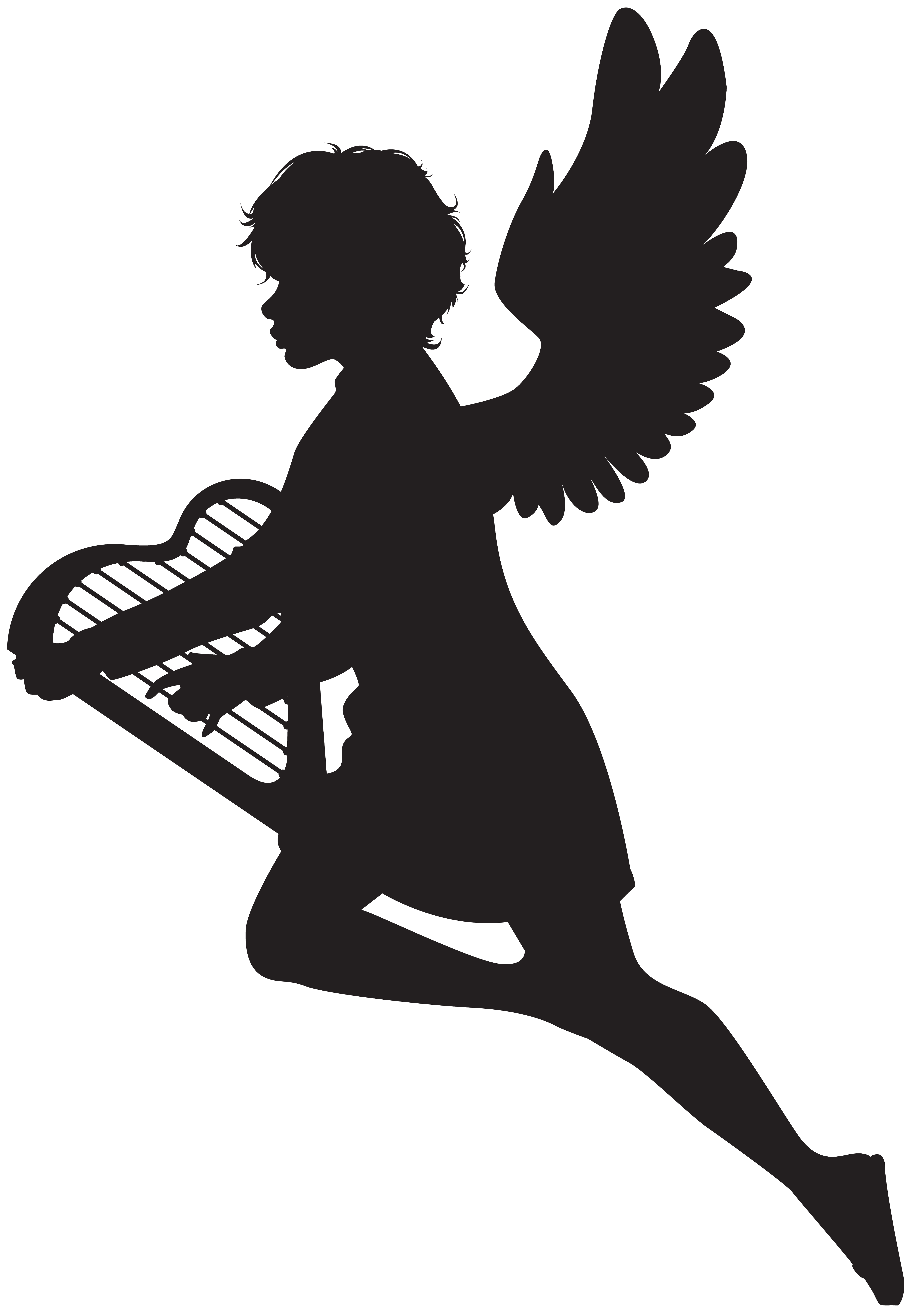Angel with silhouette png. Harp clipart picture black and white download