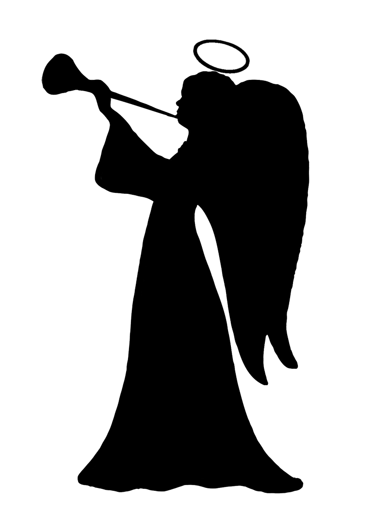 Angel silhouette png. Silhouettes trumpet blowing cherub