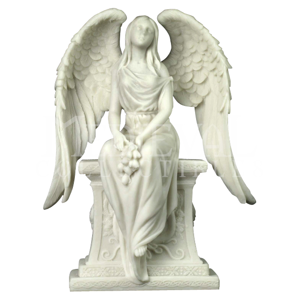Stone angels png. Angel with roses sitting