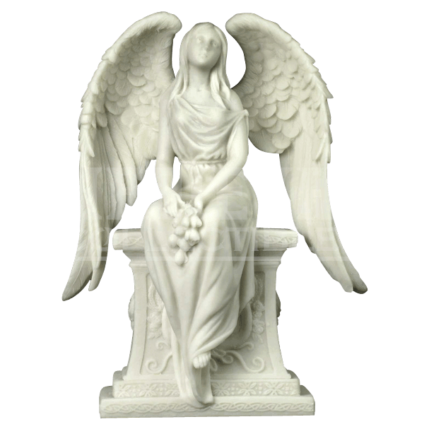 Statue png grief. Angel with roses sitting