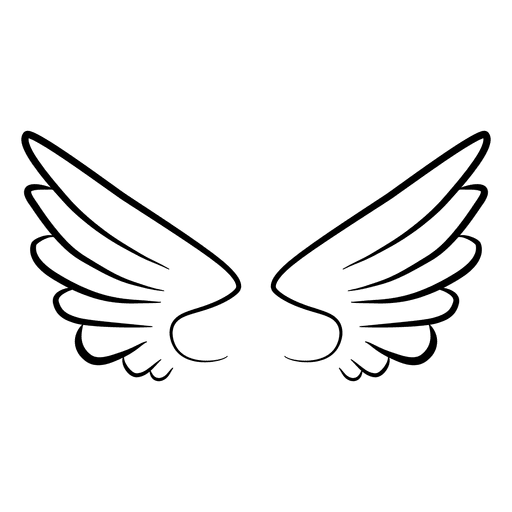 Angel wing vector png. Abstract contour silhouette transparent