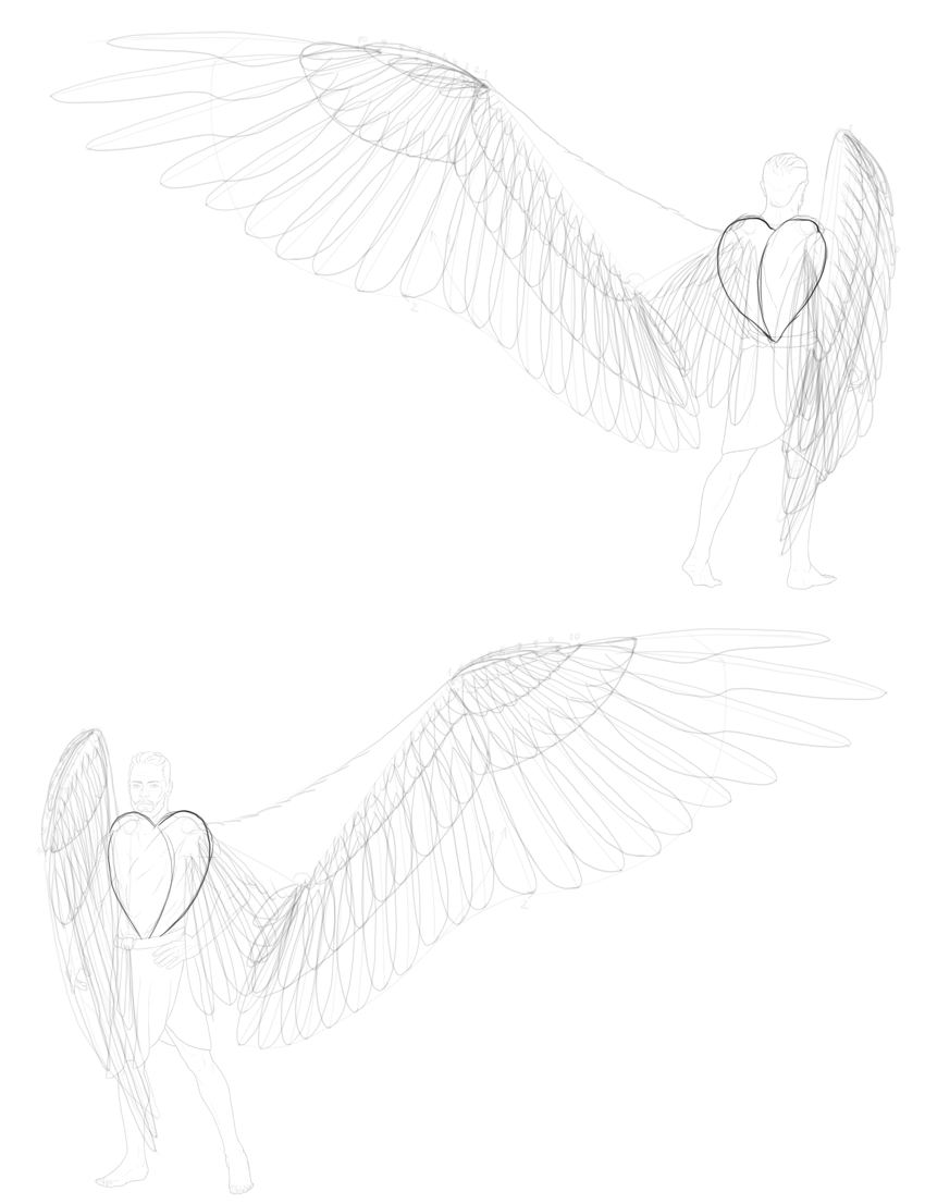 Angel wings drawing. How to draw
