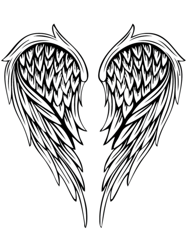 Angel wings drawing. Tattoo coloring page free