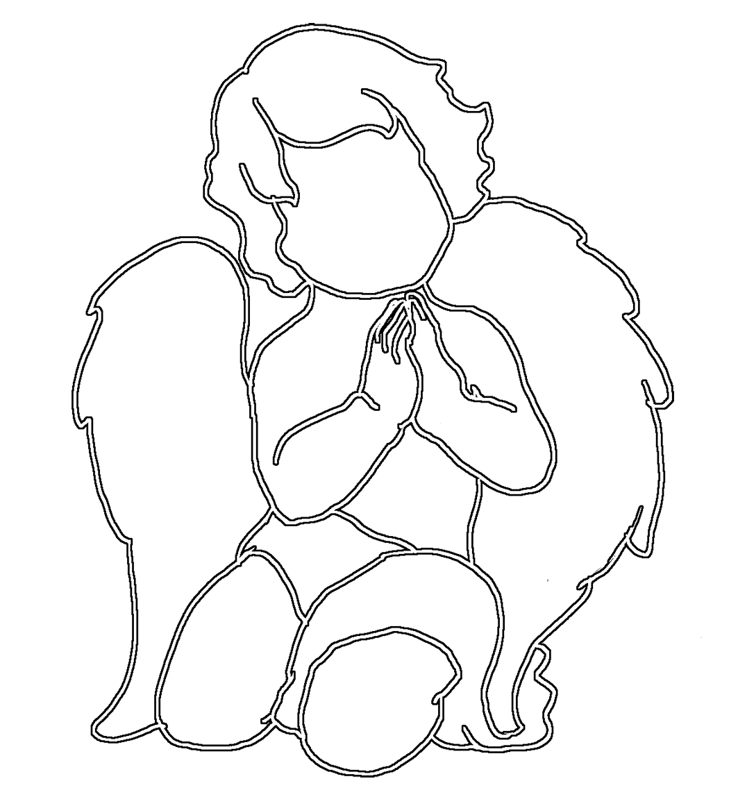 Angels black and white png. Angel silhouettes cute praying