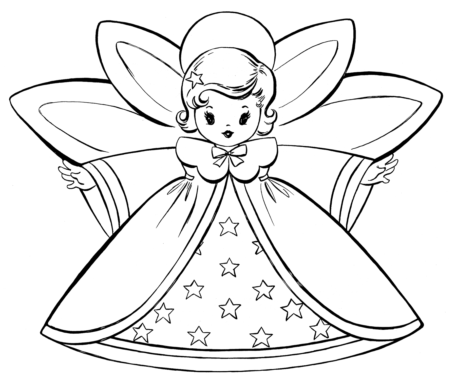 Angels clipart colouring. Free christmas coloring pages