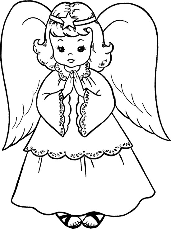 Angels clipart colouring. Angel pages pictures to