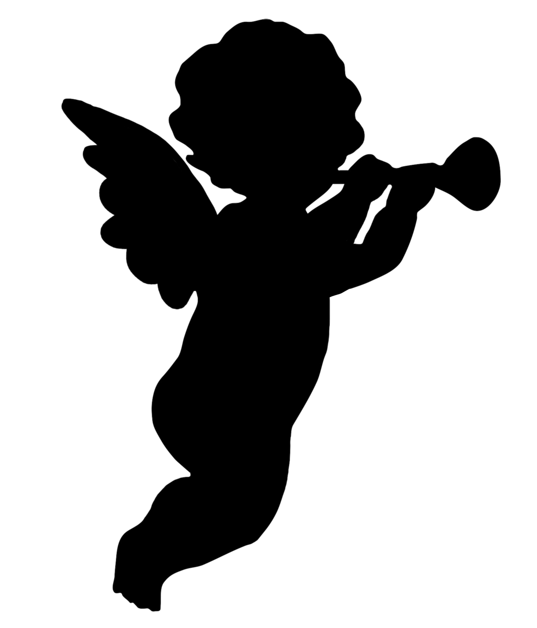 Angels silhouette png. Angel silhouettes trumpet blowing