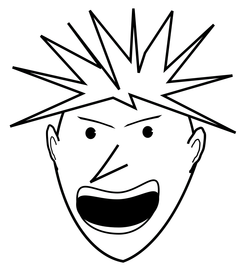 Mad drawing black and white. Evil clipart eye free
