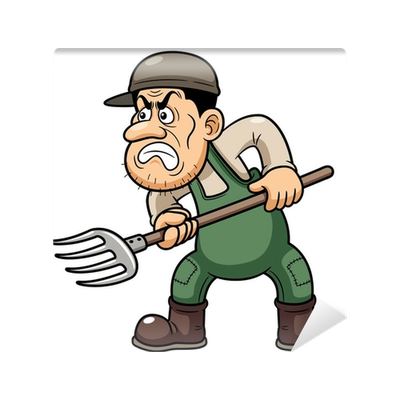 Angry farmer png. Illustration of cartoon wall