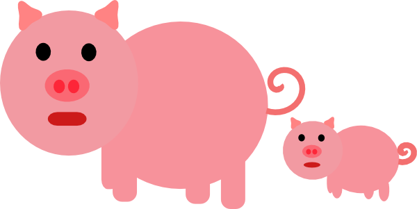 Animal clipart piglet. Mother and baby clip