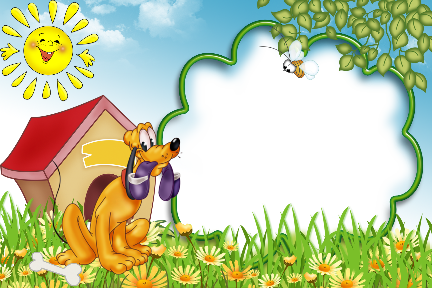 Kids transparent photo with. Frame dogs png clip art library download