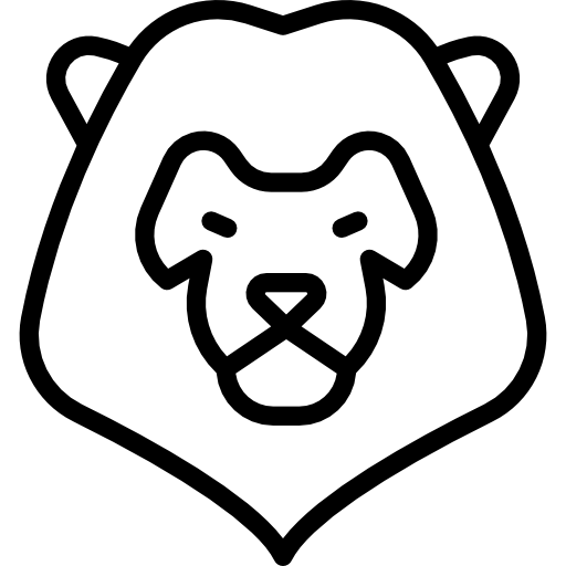 Lion statue outline png. Head frontal animals animal