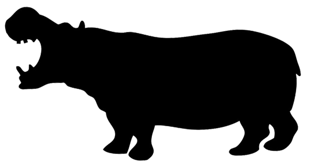 Animal silhouettes png. Silhouette of hippo stencils