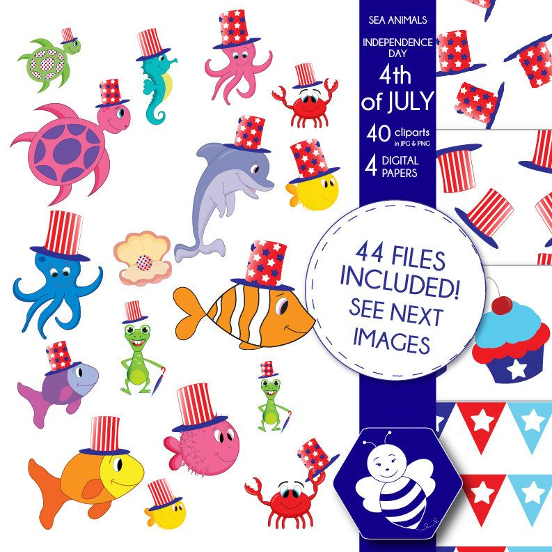 Animals clipart 4th july. Independence day sea th