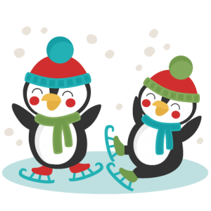 Animals clipart ice skating. Penguins svg scrapbook cut