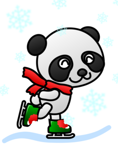 Animals clipart ice skating. Giant panda love the