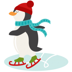 Animals clipart ice skating. Penguin svg scrapbook shape
