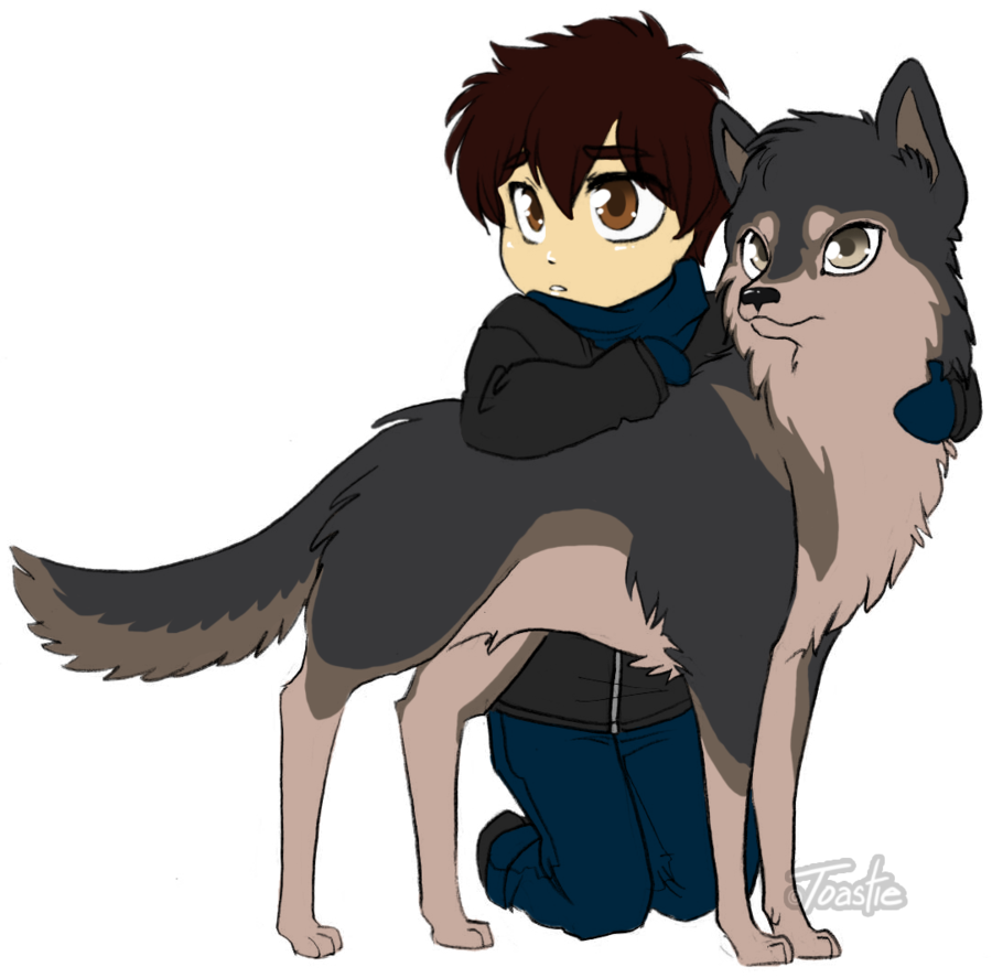 Animate drawing cute chibi dog. Boy and his wolf