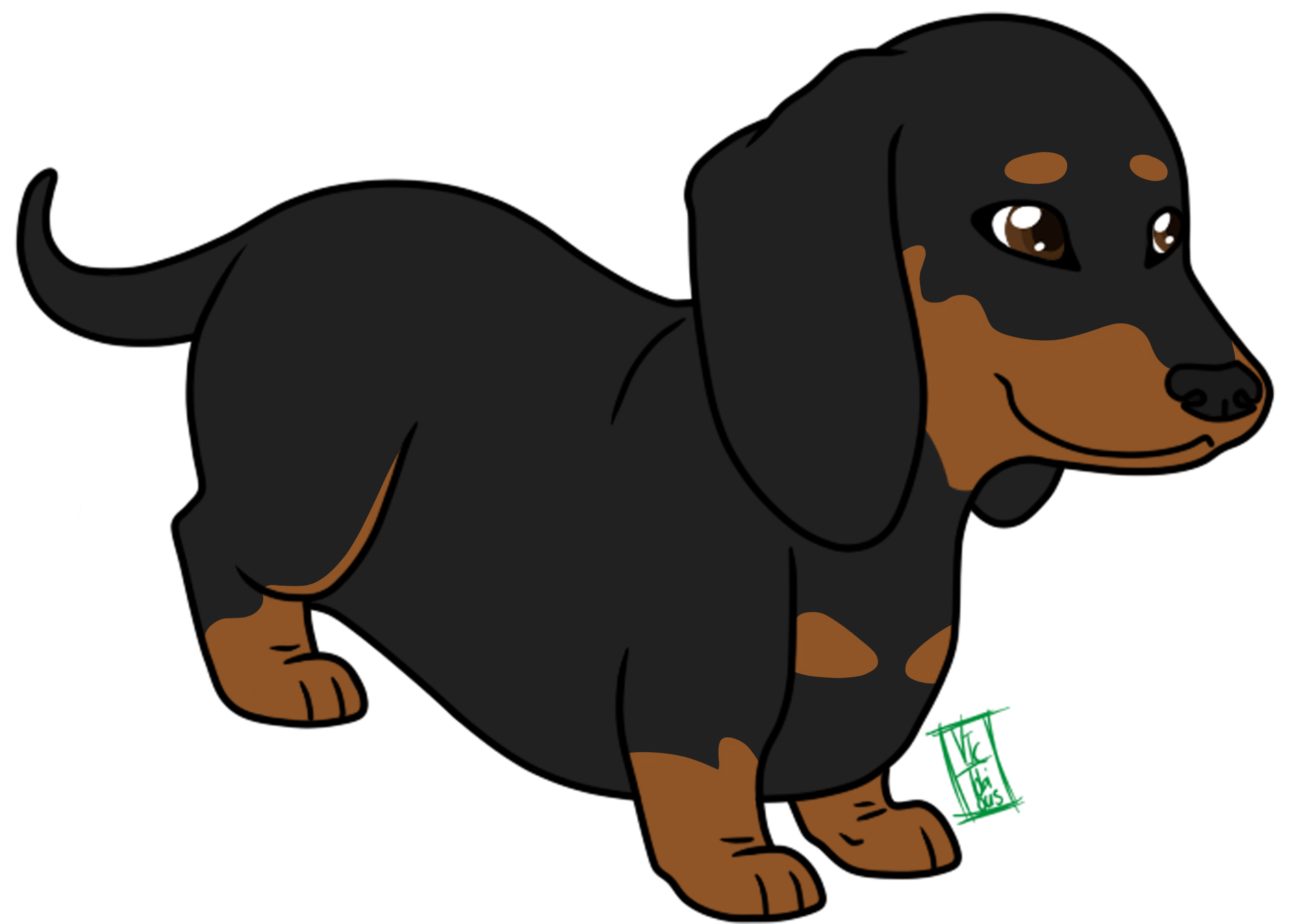 Animate drawing cute chibi dog. Dachshund puppy cartoon animation