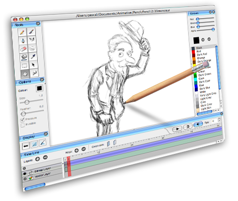 Animate drawing pencil. Animation and video blog